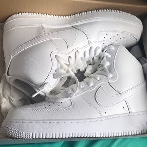 All white high top af1's
